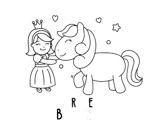 Print on Demand: Cute Girl with Unicorn Heart Star Graphic Coloring Pages & Books Kids By ermannofficial