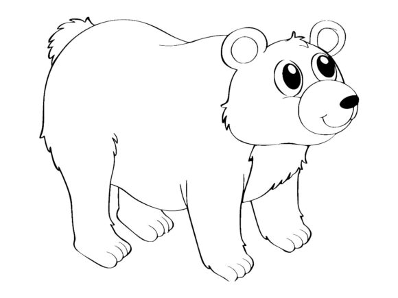 Print on Demand: Cute Grizzly Bear Line Art Vector Design Graphic Coloring Pages & Books Kids By ermannofficial