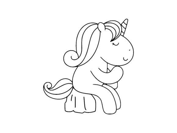 Print on Demand: Cute Unicorn Sitting & Thinking Line Art Graphic Coloring Pages & Books Kids By ermannofficial