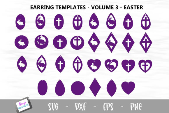 Download Free Earring Bundle Easter Earring Template Graphic By for Cricut Explore, Silhouette and other cutting machines.