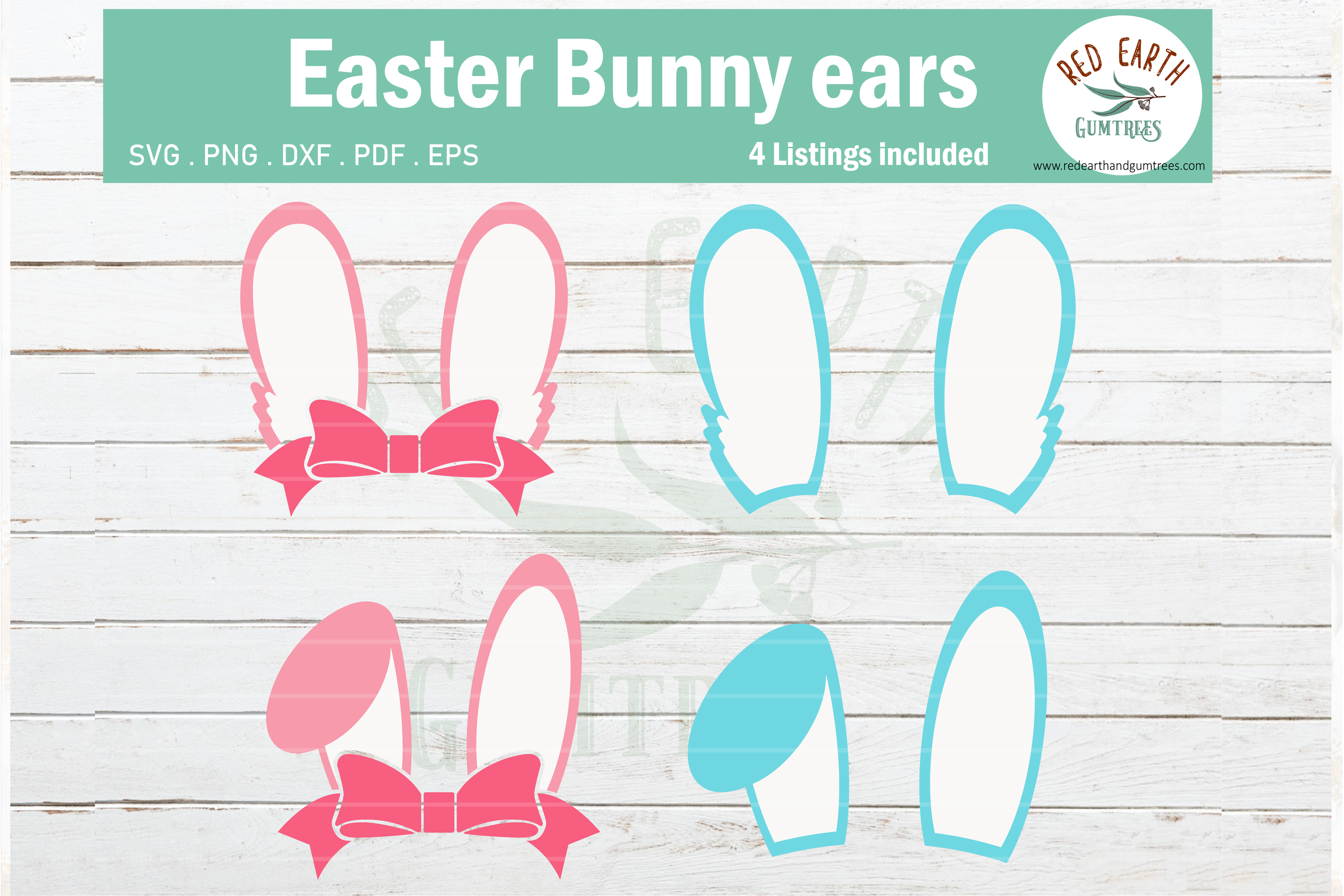 Download Free Easter Bunny Ears Pink With Bow Graphic By Redearth And Gumtrees for Cricut Explore, Silhouette and other cutting machines.