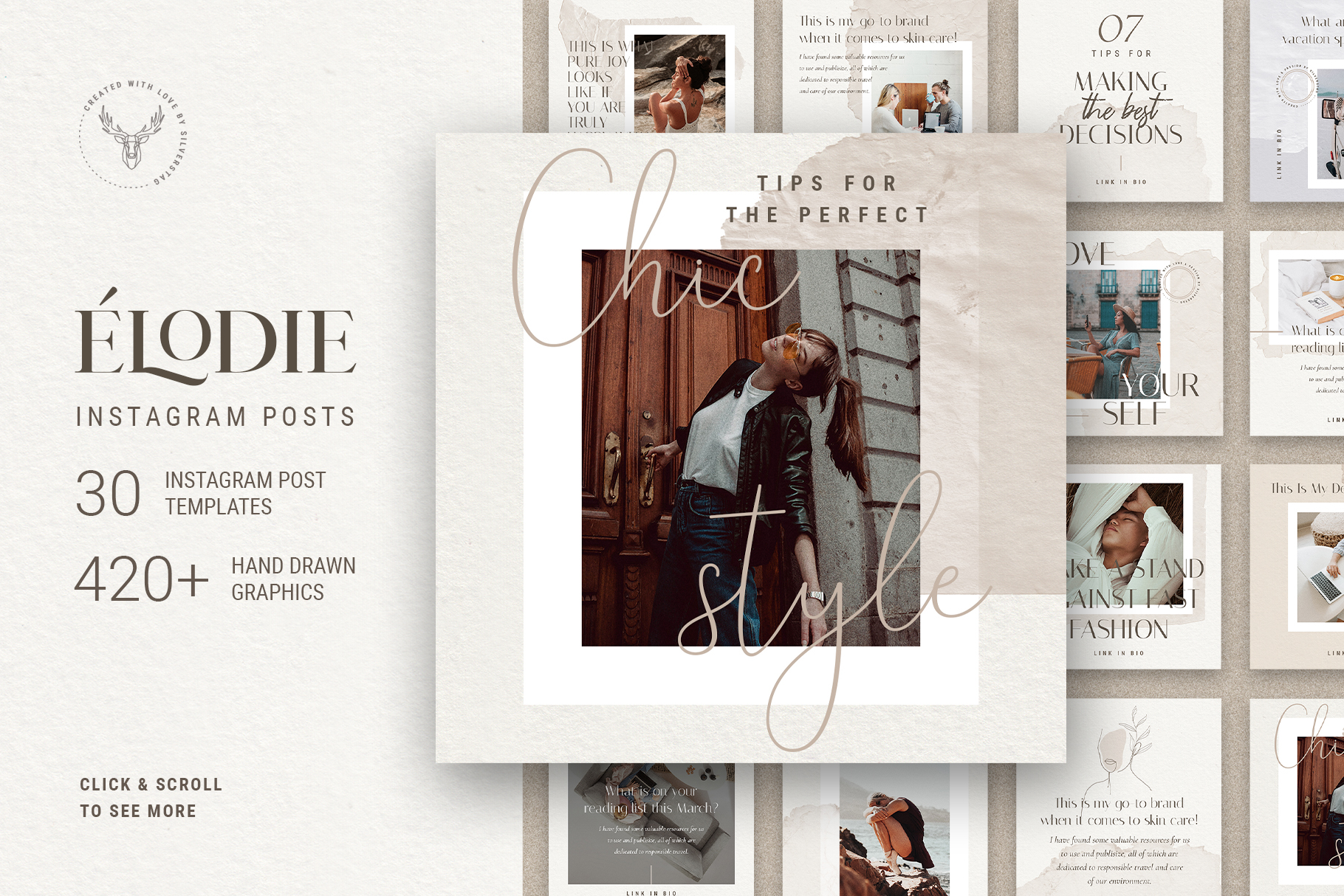 Download Free Elodie Instagram Post Templates Graphic By Silverstag for Cricut Explore, Silhouette and other cutting machines.