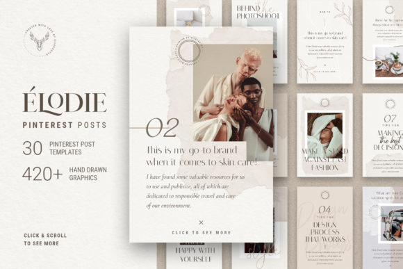 Print on Demand: Elodie - Pinterest Post Templates Graphic Websites By SilverStag
