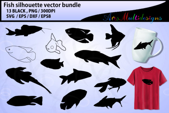 Download Free Fish Bundle Fish Vectors Graphic By Arcs Multidesigns for Cricut Explore, Silhouette and other cutting machines.