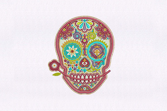 Funky Skull Halloween Embroidery Design By DigitEMB
