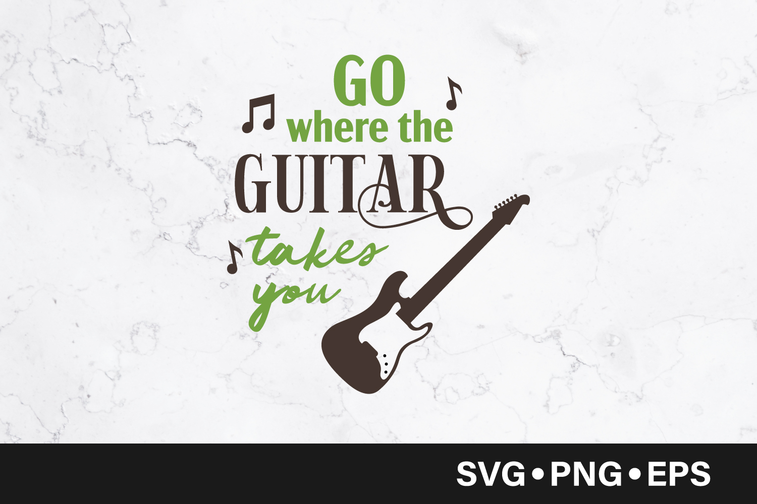 Download Free Go Where The Guitar Takes You Graphic By Vectorbundles for Cricut Explore, Silhouette and other cutting machines.