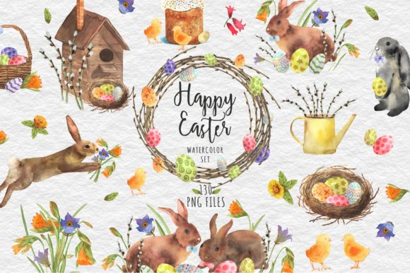 Happy Easter in Watercolor Graphic Illustrations By Iuliia Zubkova