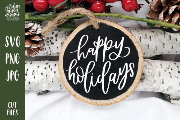 Happy Holidays Christmas Round Graphic Crafts By jordynalisondesigns