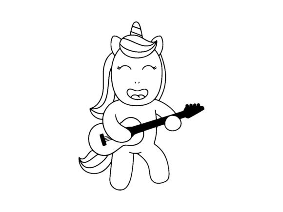 Print on Demand: Happy Unicorn Playing Guitar Line Art Graphic Coloring Pages & Books Kids By ermannofficial
