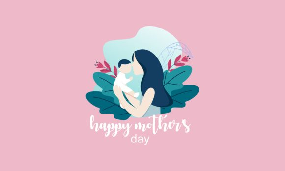 Happy Mother Day Mom With Children Logo Graphic By Deemka