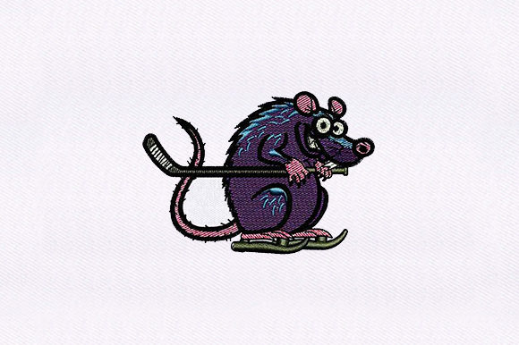 Hockey Gear Rat Animals Embroidery Design By DigitEMB