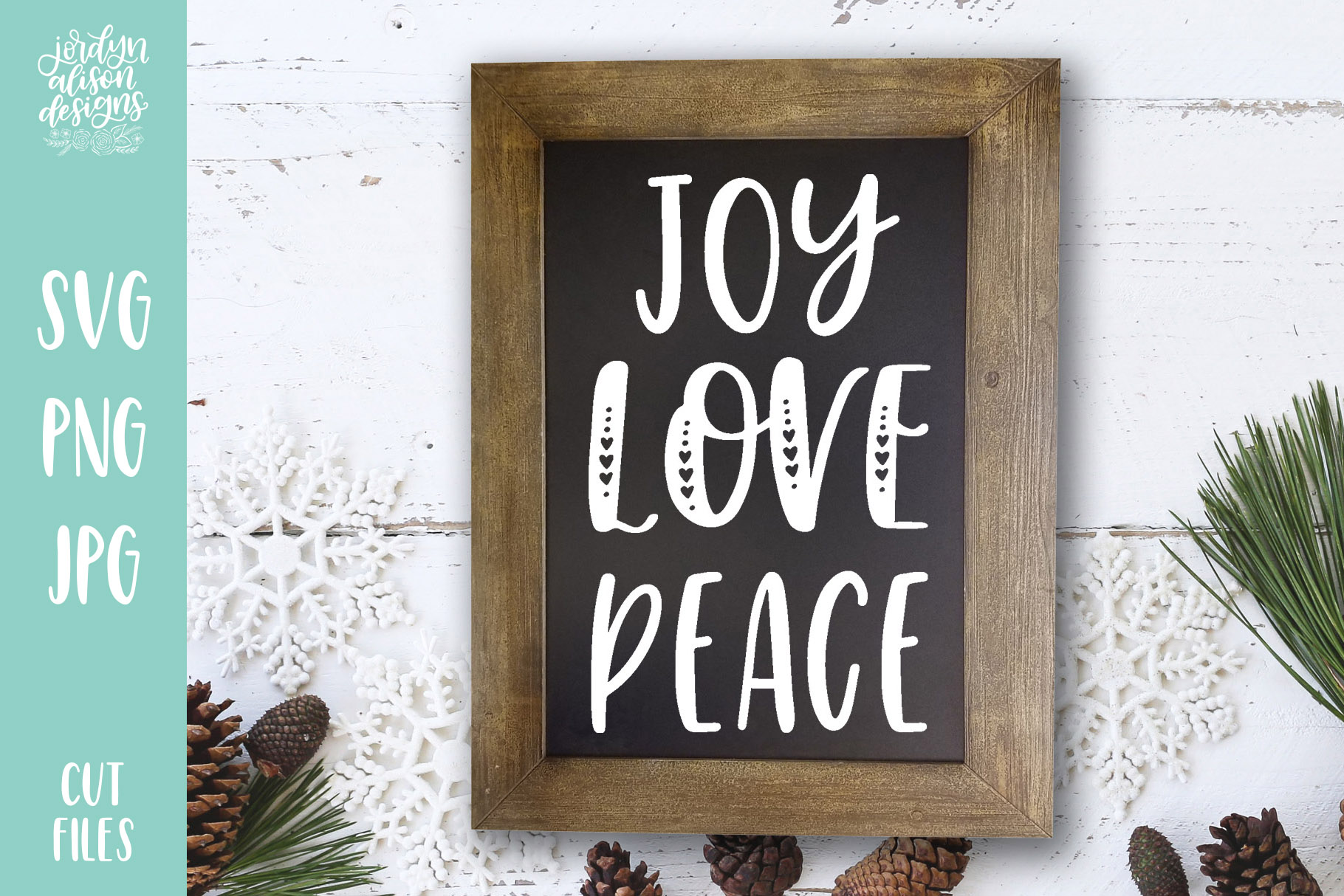 Download Free Joy Love Peace Christmas Cut File Graphic By Jordynalisondesigns Creative Fabrica for Cricut Explore, Silhouette and other cutting machines.