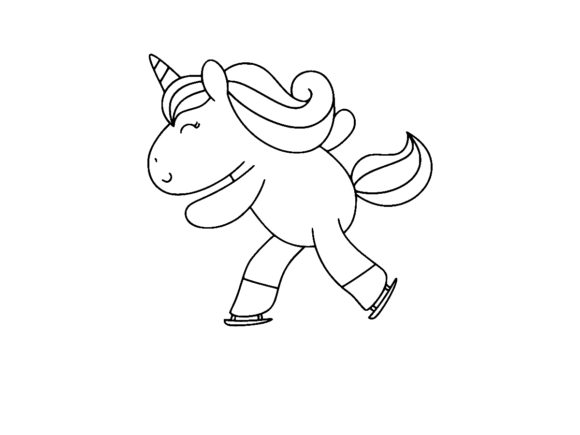 Print on Demand: Magical Unicorn Skiing Line Art Outline Graphic Coloring Pages & Books Kids By ermannofficial