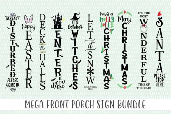 Download Free Mega Front Porch Sign Bundle Graphic By Simply Cut Co Creative for Cricut Explore, Silhouette and other cutting machines.