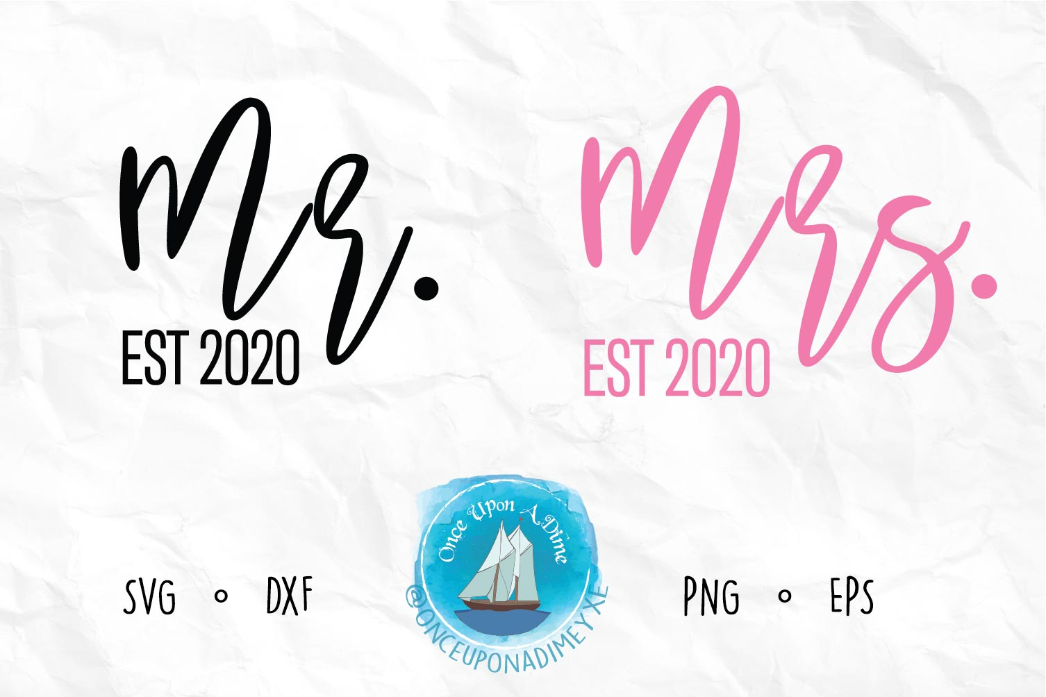 Download Free Mr And Mrs Est 2020 Wedding File Graphic By Onceuponadimeyxe for Cricut Explore, Silhouette and other cutting machines.