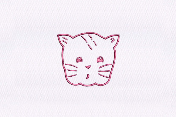 Pink Kitten Cat Face Cats Embroidery Design By DigitEMB
