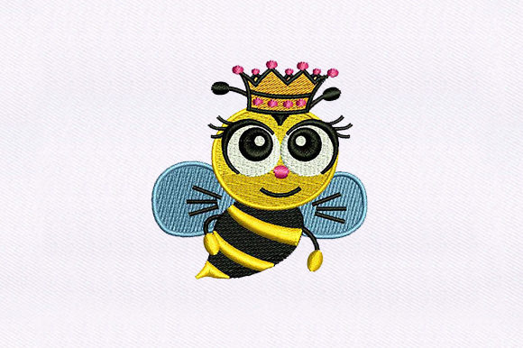 Queen Honey Bee Bugs & Insects Embroidery Design By DigitEMB