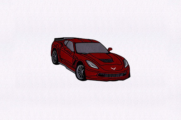 Red Sports Car Sports Embroidery Design By DigitEMB