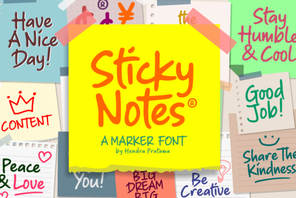 Print on Demand: Sticky Notes Script & Handwritten Font By hptypework