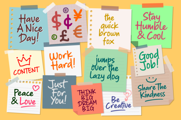 Download Free Sticky Notes Font By Hptypework Creative Fabrica for Cricut Explore, Silhouette and other cutting machines.