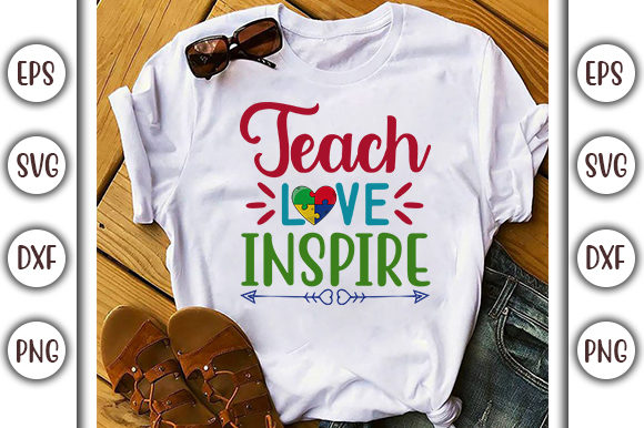 Download Free Teach Love Inspire Autism Design Graphic By Graphicsbooth for Cricut Explore, Silhouette and other cutting machines.