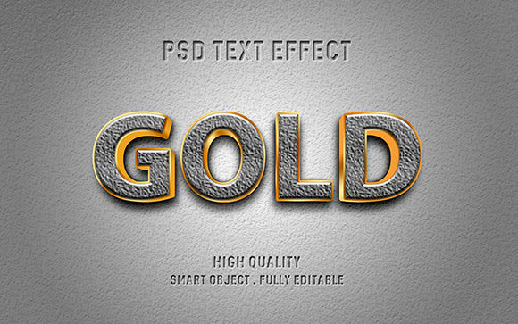 Text Effect - 3D Gold and Stone Graphic Graphic Templates By Amrikhsn