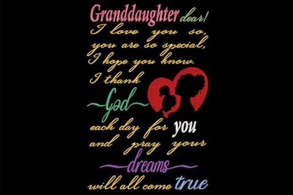 To My Granddaughter, Quote Nietos Diseños de bordado Por Embroidery Shelter