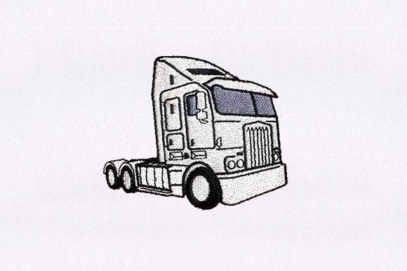 Tractor Trailer Truck Transportation Embroidery Design By DigitEMB