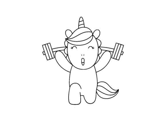 Print on Demand: Unicorn Doing Workout Weight Lifting Graphic Coloring Pages & Books Kids By ermannofficial