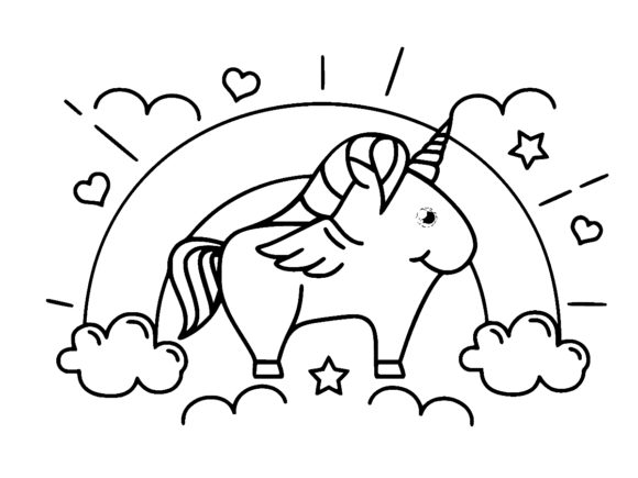 Print on Demand: Unicorn Line Art Outline Vector Design Graphic Coloring Pages & Books Kids By ermannofficial