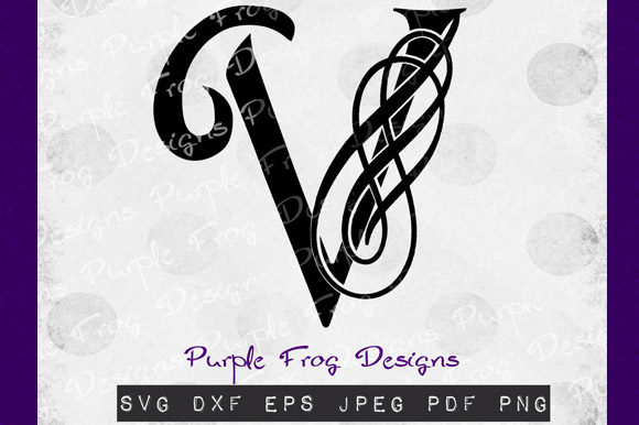 Download Free V Monogram Filigree Monogram Graphic By Heather Terry Creative SVG Cut Files