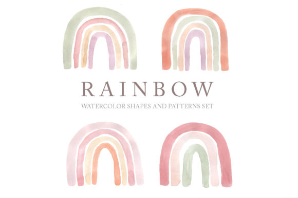 Download Free Watercolor Boho Rainbows Set Graphic By Larysa Zabrotskaya for Cricut Explore, Silhouette and other cutting machines.