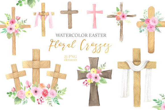Watercolor Easter Floral Crosses Graphic Illustrations By Larysa Zabrotskaya - Image 1