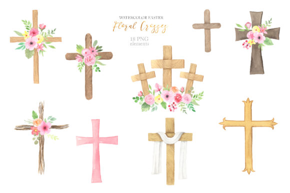 Watercolor Easter Floral Crosses Graphic Illustrations By Larysa Zabrotskaya - Image 2