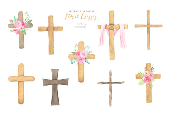 Watercolor Easter Floral Crosses Graphic Illustrations By Larysa Zabrotskaya - Image 3
