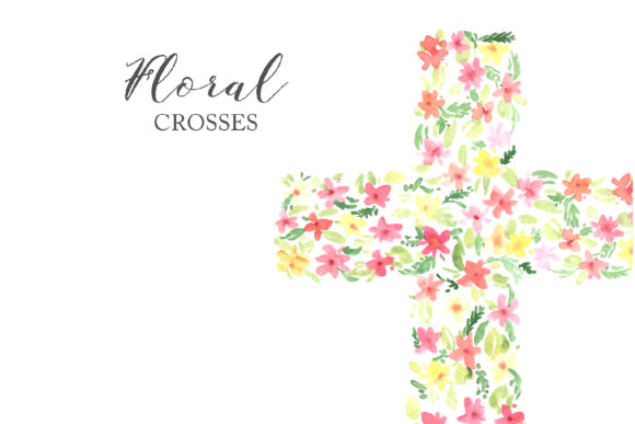Watercolor Easter Floral Crosses Graphic Illustrations By Larysa Zabrotskaya - Image 6