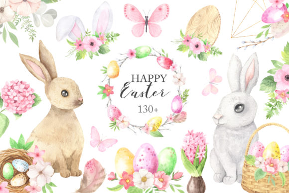 Download Free Watercolor Easter Spring Bunny Set Graphic By Larysa Zabrotskaya for Cricut Explore, Silhouette and other cutting machines.