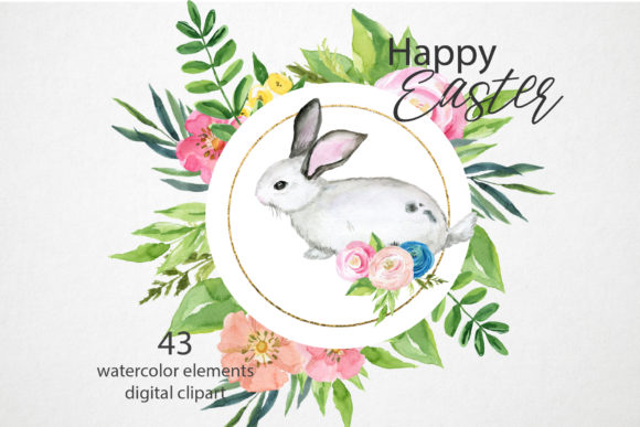 Watercolor Easter Bunny Clipart Set Graphic Illustrations By lena-dorosh