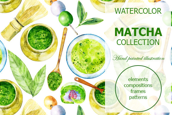 Watercolor Matcha Collection Graphic Illustrations By dvdarina