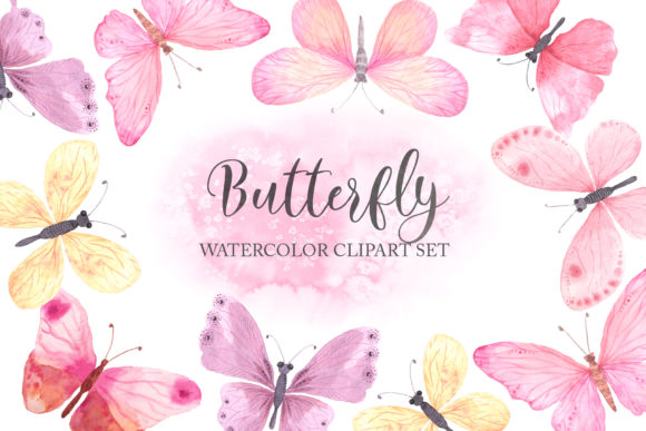Watercolor Pink Butterfly Set Graphic Illustrations By Larysa Zabrotskaya