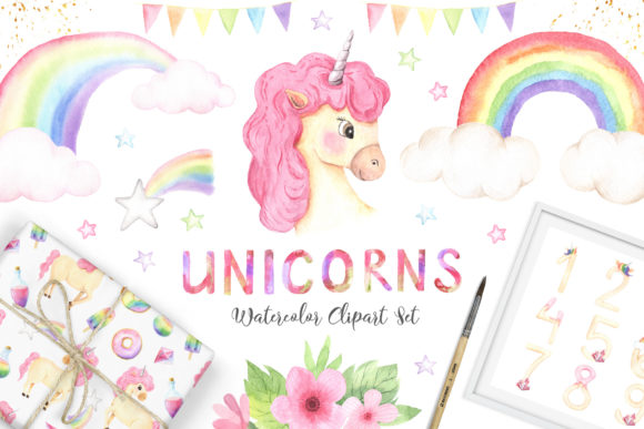 Watercolor Unicorns Set Vol.2 Graphic Illustrations By Larysa Zabrotskaya