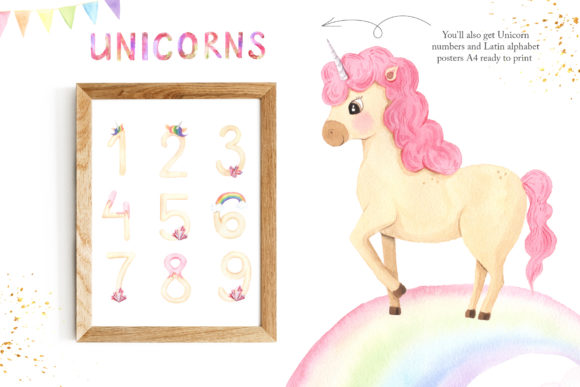 Download Free Watercolor Unicorns Set Vol 2 Graphic By Larysa Zabrotskaya for Cricut Explore, Silhouette and other cutting machines.