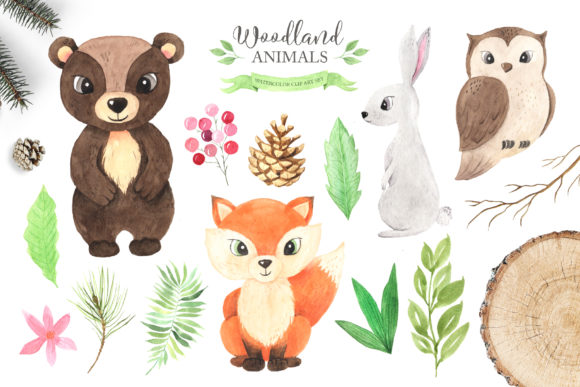 Download Free Watercolor Woodland Animals Set Graphic By Larysa Zabrotskaya for Cricut Explore, Silhouette and other cutting machines.