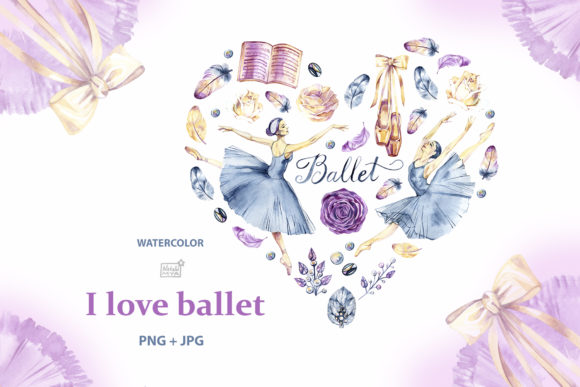 Watercolor Ballerinas Heart Graphic Illustrations By NataliMyaStore
