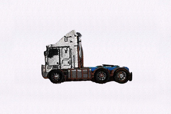 White Trailer Truck Transportation Embroidery Design By DigitEMB