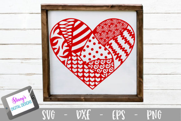 Download Free Zentangle Heart Doodle Design Graphic By Stacysdigitaldesigns Creative Fabrica for Cricut Explore, Silhouette and other cutting machines.