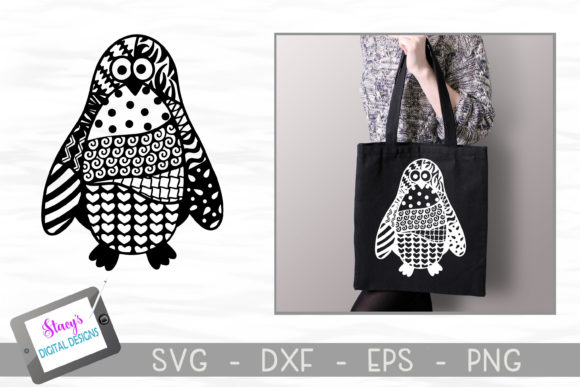 Zentangle Penguin Design Graphic Crafts By stacysdigitaldesigns
