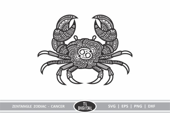Download Free Zodiac Zentangle Cancer Crab Starsign Graphic By Tl Digital for Cricut Explore, Silhouette and other cutting machines.