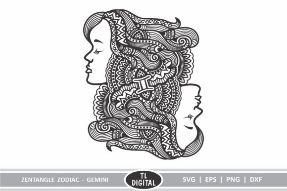 Download Free Zodiac Zentangle Gemini Twin Starsign Graphic By Tl Digital for Cricut Explore, Silhouette and other cutting machines.