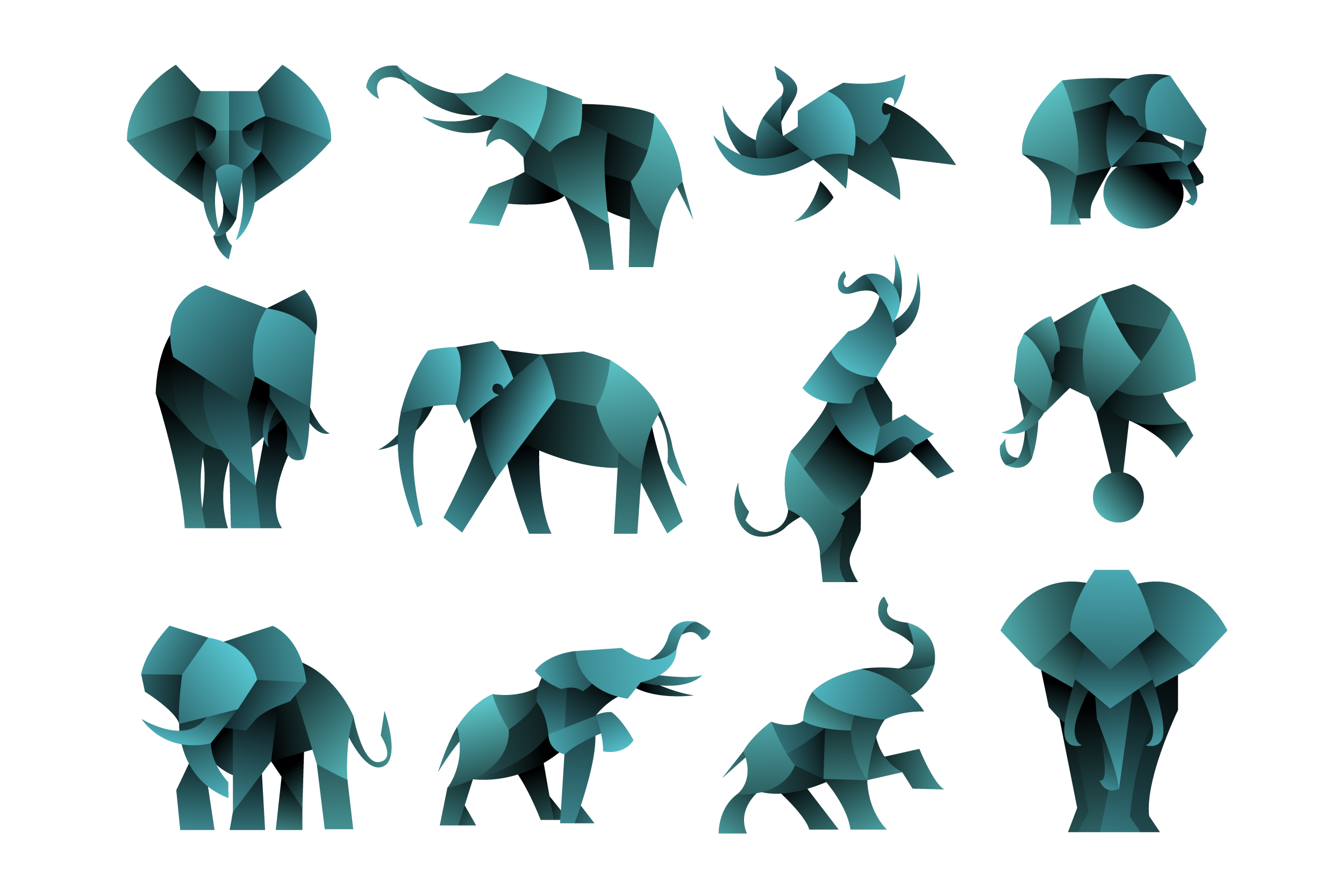 Download Free Pack Of Geometric Elephant Clipart Graphic By Aksa Inov008 for Cricut Explore, Silhouette and other cutting machines.